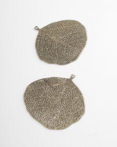 Filigraan blad rond 2 stuks antiek goud