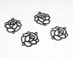 Filigraan roosje 4 stuks zwart