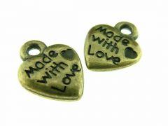 Hanger acryl Made With Love 10 stuks antiek goud