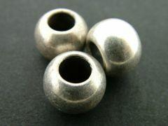 Kraal acryl bol groot gat 10 stuks antiek zilver