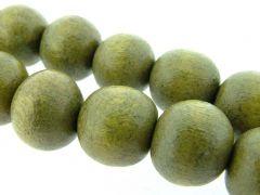Kraal hout vernis 20 mm op streng 20 stuks olijfgroen