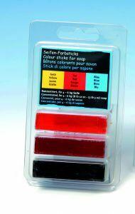 Kleurstof voor zeep voor 4-6 kg zeep geel-rood-blauw