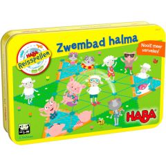 Haba magnetisch reisspel in blik Zwembad halma 5+