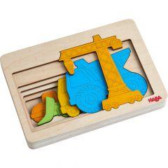 Houten puzzel - Bouwvoertuigen