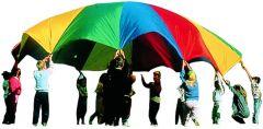 Parachute nylon met 20 handlussen D 6 m 3,5 kg
