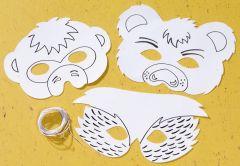 Maskers wit karton - wilde dieren 8 stuks