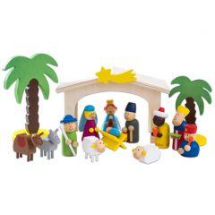 Houten kerststal met figuren 15-delig