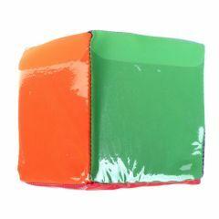 Dobbelsteen met 6 kleuren en 6 insteekzakjes 16 cm