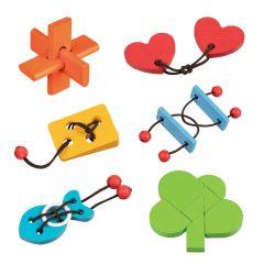 Schenkspeelgoed - Kleurrijke denkpuzzel hout (6 verschill.)