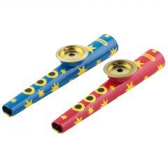 Kazoo metaal 13 cm, blauw of rood