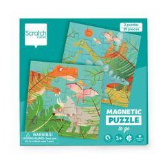 Magnetische reispuzzels 2 x 20 stuks dino 18 x 18 cm 3+