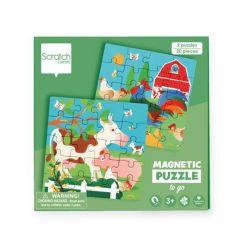 Magnetische reispuzzels 2 x 20 stuks boerderij 18 x 18 cm 3+