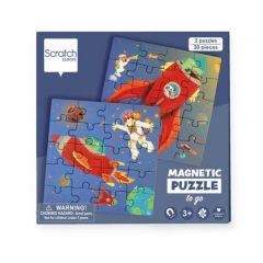 Magnetische reispuzzels 2 x 20 stuks ruimte 18 x 18 cm 3+