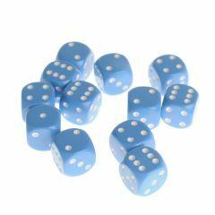 Dobbelsteenset 16 mm lichtblauw 12 stuks