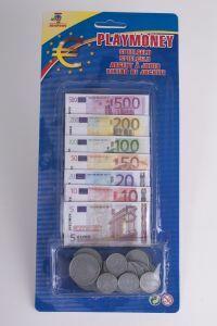 Euro speelgeld biljetten en munten