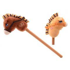 Stokpaardje met zacht hoofd en geluid 75 cm