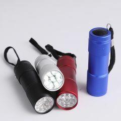Zaklamp 9 LED met batterijen kleurenmix