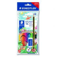 Staedtler Noris ABS setje 12 kleurpotloden 1 potlood 1 gom