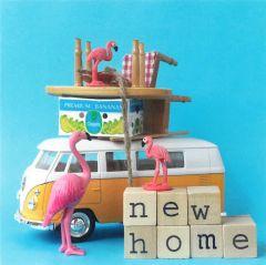 Wenskaart - Flamingo New Home