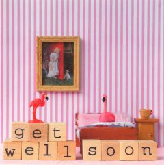Wenskaart - Flamingo Get Well Soon