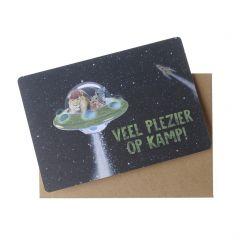 Wenskaart - Veel plezier op kamp (ufo)