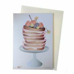 Wenskaart met omslag - Cake with flowers