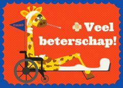 Wenskaart giraf Veel beterschap!
