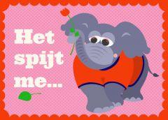 Wenskaart olifant Het spijt me...