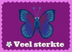 Wenskaart vlinder Veel sterkte