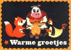 Wenskaart kampvuur Warme groetjes!
