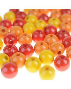 Houten kralen 8 mm 118 stuks mix geel