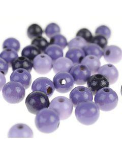 Houten kralen 8 mm 118 stuks mix paars