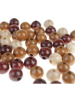 Houten kralen 8 mm 118 stuks mix bruin