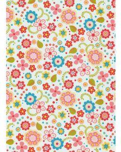Decopatch papier 30 x 40 cm 3 vel kleurrijke bloemen