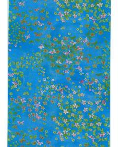 Decopatch papier 30 x 40 cm 3 vel blauw fijne bloemetjes
