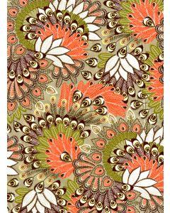 Decopatch papier 30 x 40 cm 3 vel groen/oranje pauwenoog