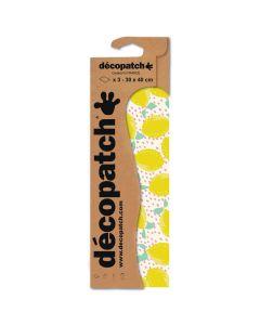 Decopatch papier 30 x 40 cm 3 vel geel citroenen