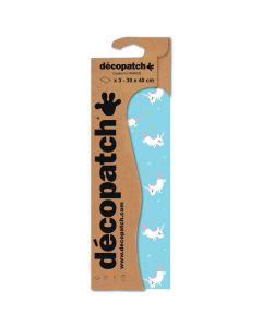 Decopatch papier 30 x 40 cm 3 vel blauw eenhoorn