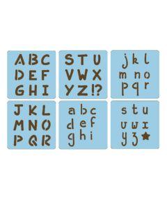 Set sjablonen 15 x 15 cm 6 stuks alfabet