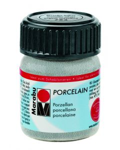 Marabu porseleinverf 15 ml metallic zilver