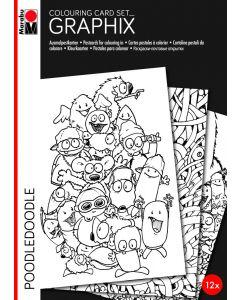 Marabu Graphix kleurkaarten 12 stuks Poodledoodle