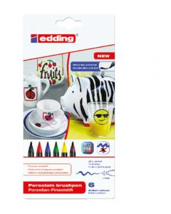 Edding porselein penseelstift 1-4 mm 6 stuks Family