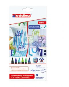 Edding porselein penseelstift 1-4 mm 6 stuks Cool