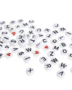 letterkralen 7 mm ca. 200 stuks wit, zwarte letters