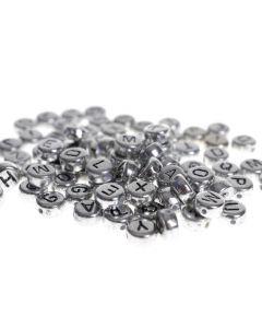 letterkralen 7 mm ca. 170 stuks zilver