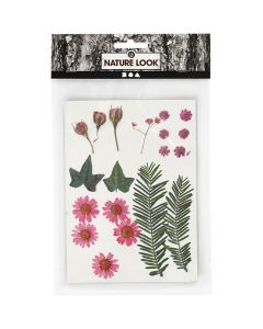 Gedroogde bloemen en bladeren 19 stuks roze