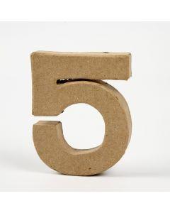 Cijfer karton, hoogte 10 cm, dikte 2 cm - 5