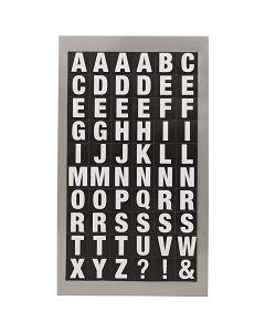 Stickers alfabet vierkant wit