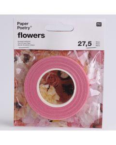 Bloementape 12 mm x 27,5m roze
