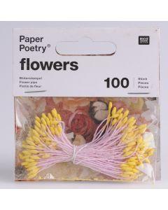 Meeldraad 6 cm 100 stuks geel/roze